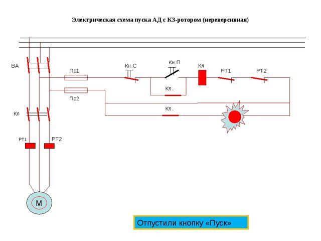 Электрическая схема пуска АД с КЗ-ротором (нереверсивная) М РТ1 РТ2 ВА Кл Пр1...