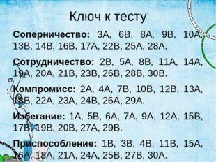 Ключ к тесту Соперничество: 3А, 6В, 8А, 9В, 10А, 13В, 14В, 16В, 17А, 22В, 25А