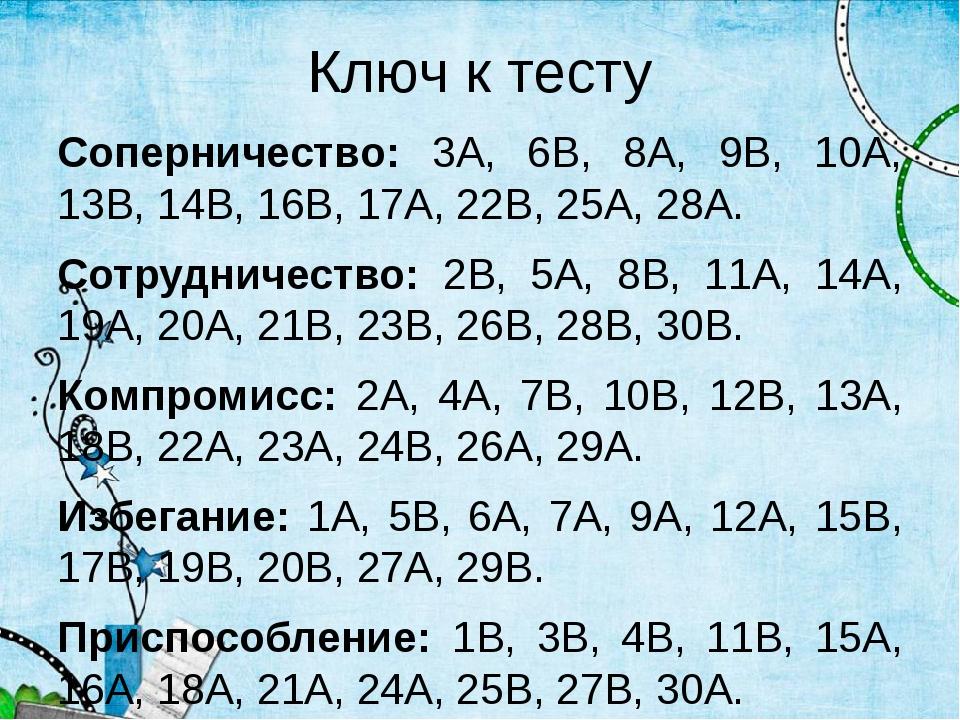 Ключ к тесту Соперничество: 3А, 6В, 8А, 9В, 10А, 13В, 14В, 16В, 17А, 22В, 25А...