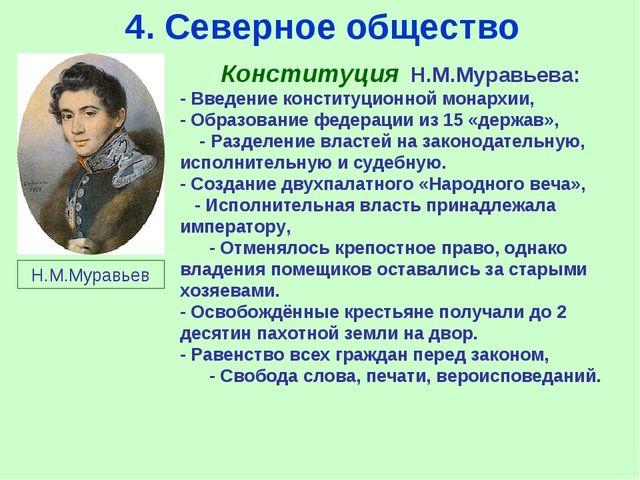 4. Северное общество Конституция Н.М.Муравьева: - Введение конституционной мо...
