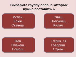 Выберите группу слов, в которых нужно поставить ь Жеч_ Плачеш_ Помощ_ Спиш_ П