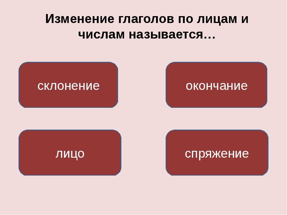Изменение глаголов по лицам и числам называется… спряжение лицо окончание скл...