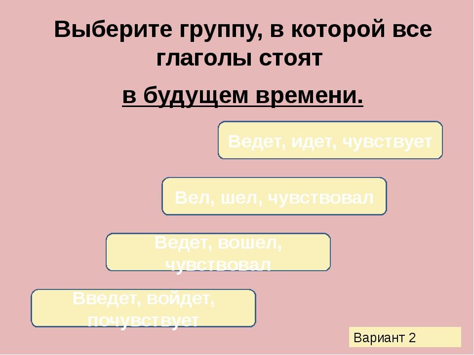 Выберите группу, в которой все глаголы стоят в будущем времени. Введет, войде...