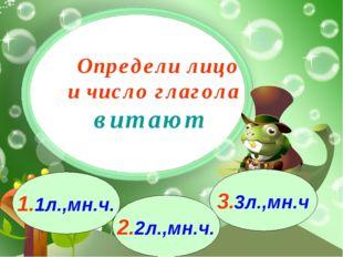 3.3л.,мн.ч 1.1л.,мн.ч. 2.2л.,мн.ч. Определи лицо и число глагола витают