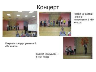 Концерт Открыли концерт ученики 8 «Б» класса Песня «У дороги чибис в исполнен