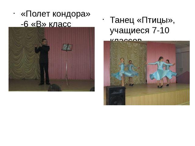 «Полет кондора» -6 «В» класс Танец «Птицы», учащиеся 7-10 классов