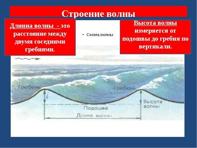 Строение волны Длинна волны - это расстояние между двумя соседними гребнями....
