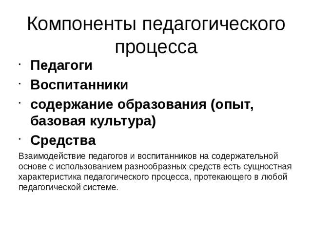 Компоненты педагогического процесса Педагоги Воспитанники содержание образова...