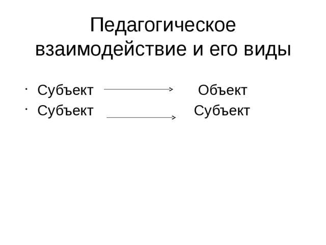 Педагогическое взаимодействие и его виды Субъект Объект Субъект Субъект