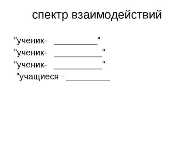 "спектр взаимодействий ""ученик- _________"" ""ученик- __________"" ""ученик- _____..."