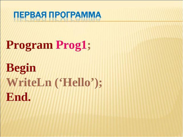 Program Prog1; Begin WriteLn ('Hello'); End.