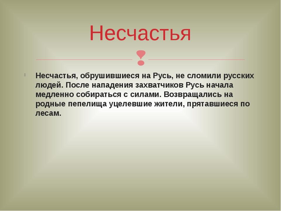 Несчастья, обрушившиеся на Русь, не сломили русских людей. После нападения за...