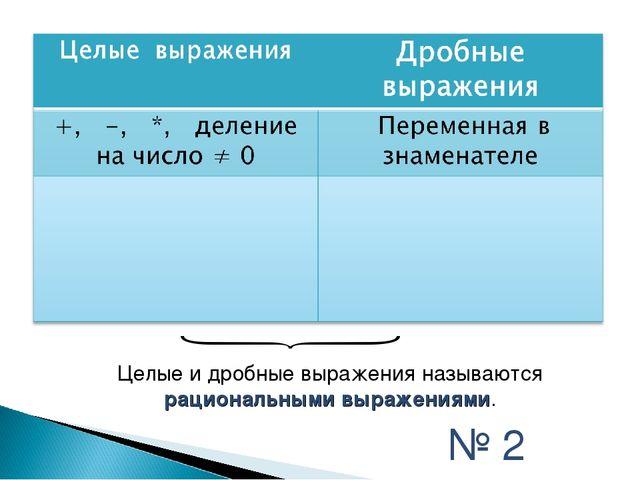 Целые и дробные выражения называются рациональными выражениями. № 2