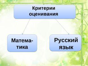 Критерии оценивания Матема-тика Русский язык
