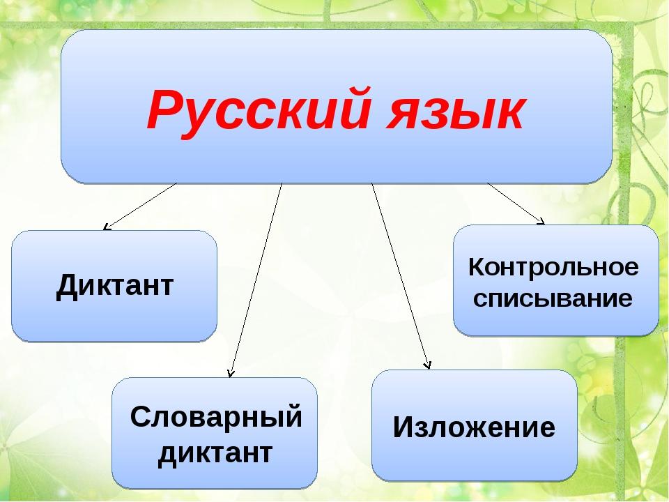 Русский язык Диктант Словарный диктант Изложение Контрольное списывание