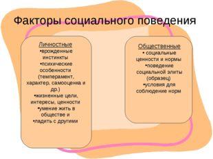 Факторы социального поведения Личностные врожденные инстинкты психические осо