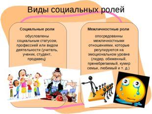 Виды социальных ролей Социальные роли обусловлены социальным статусом, профес