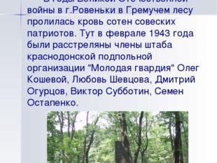 Место казни молодогвардейцев В годы Великой Отечественной войны в г.Ровеньки
