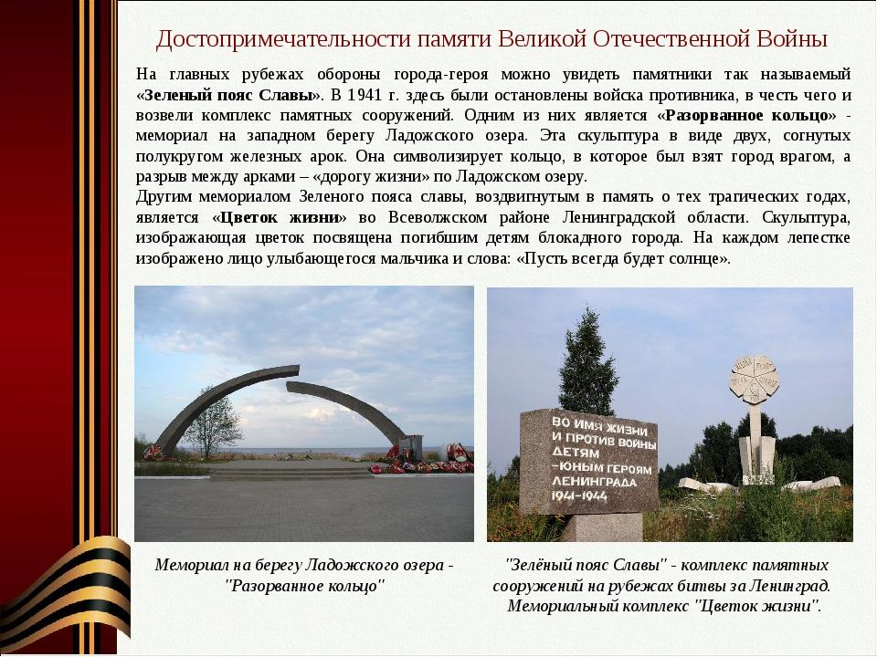 Достопримечательности памяти Великой Отечественной Войны На главных рубежах о...