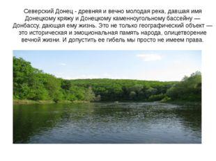Северский Донец - древняя и вечно молодая река, давшая имя Донецкому кряжу и