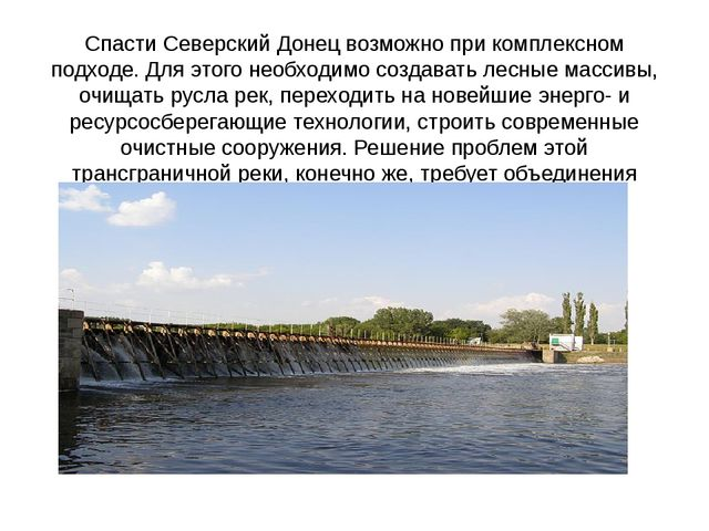 Спасти Северский Донец возможно при комплексном подходе. Для этого необходимо...