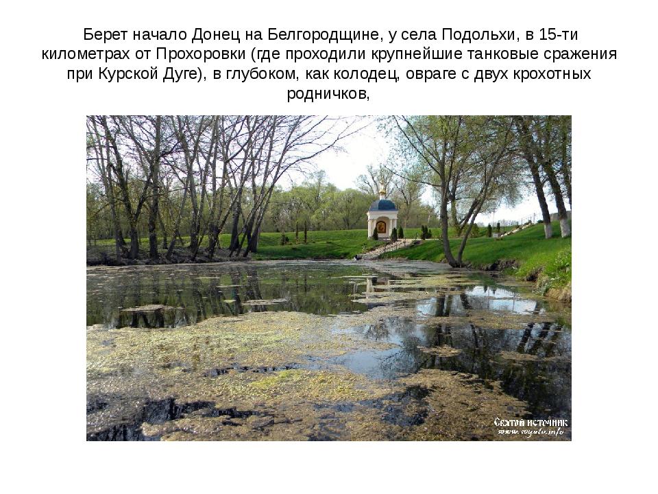 Берет начало Донец на Белгородщине, у села Подольхи, в 15-ти километрах от П...