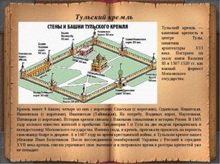 Тульский кремль Кремль имеет 9 башен, четыре из них с воротами: Спасская (с в