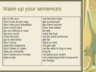 Make up your sentences