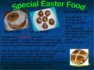 Hot Cross Buns Easter Nests Simnel cake Hot cross bun! Hot cross bun! One a p
