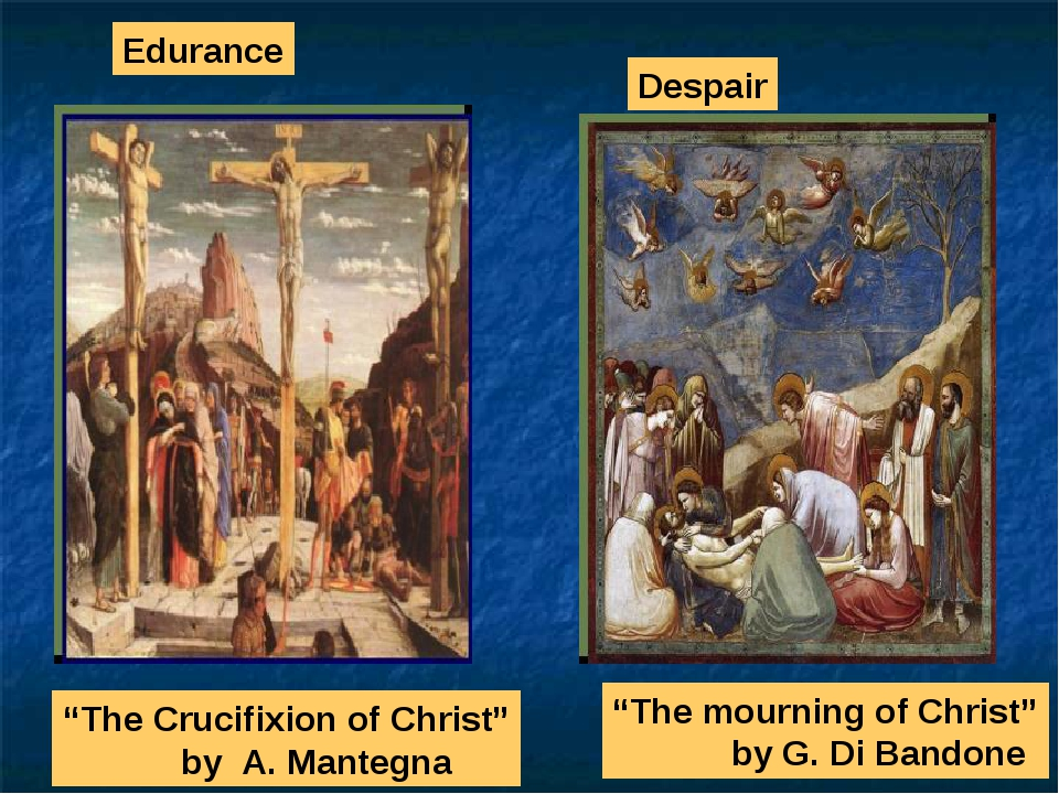 """The Crucifixion of Christ"" by A. Mantegna Despair ""The mourning of Christ"" b..."