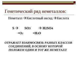 Генетический ряд неметаллов: Неметалл Кислотный оксид Кислота S  SO3  H2S