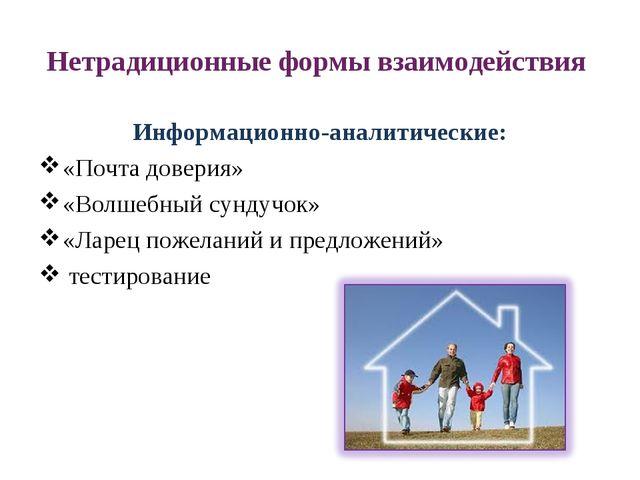 Нетрадиционные формы взаимодействия Информационно-аналитические: «Почта довер...