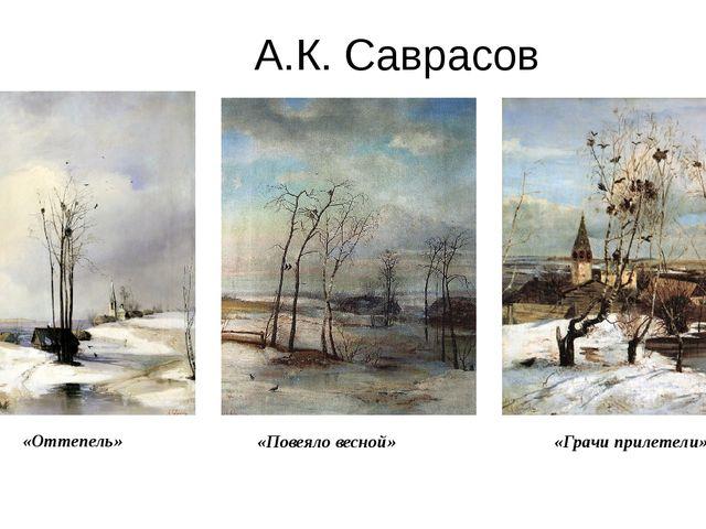 А.К. Саврасов «Оттепель» » «Повеяло весной» «Грачи прилетели»