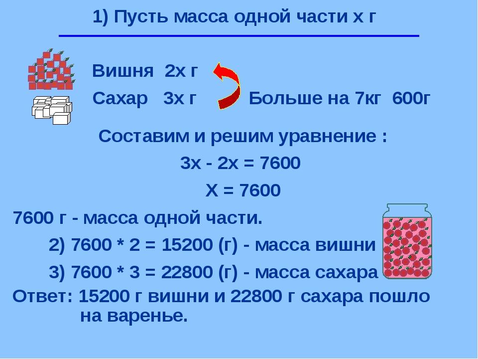1) Пусть масса одной части х г Вишня 2х г Сахар 3х г Больше на 7кг 600г Соста...