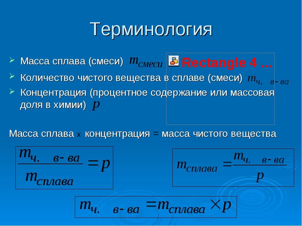 Терминология Масса сплава (смеси) Количество чистого вещества в сплаве (смеси...