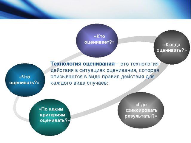 Технология оценивания – это технология действия в ситуациях оценивания, котор...