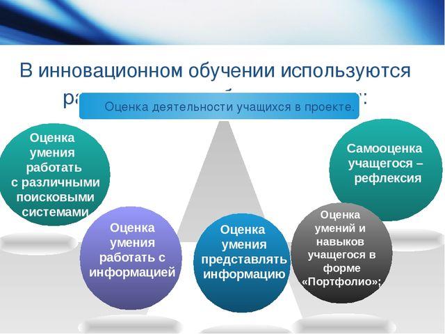 В инновационном обучении используются различные способы оценивания: Оценка д...