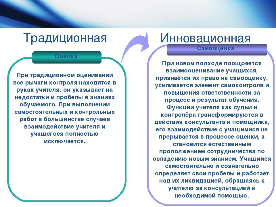 Традиционная Оценка Самооценка При традиционном оценивании все рычаги контрол...