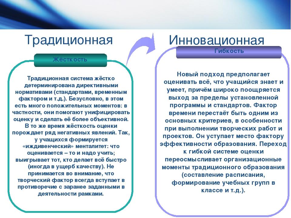 Традиционная Жёсткость Гибкость Традиционная система жёстко детерминирована д...