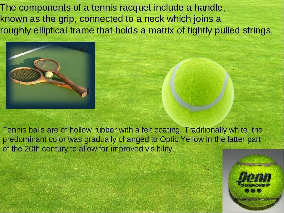 The components of a tennis racquet include a handle, known as the grip, conne...