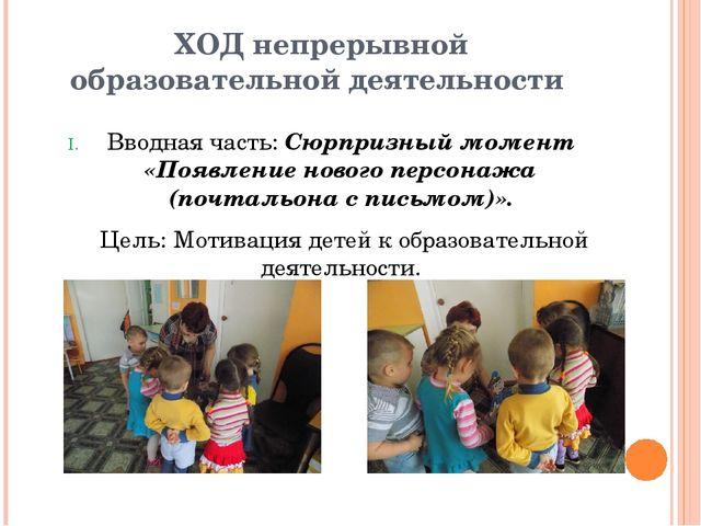 ХОД непрерывной образовательной деятельности Вводная часть: Сюрпризный момент...