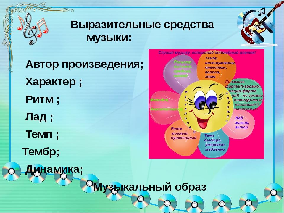 Выразительные средства музыки: Автор произведения; Характер ; Ритм ; Лад ; Т...