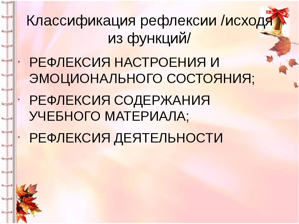 Классификация рефлексии /исходя из функций/ РЕФЛЕКСИЯ НАСТРОЕНИЯ И ЭМОЦИОНАЛЬ...