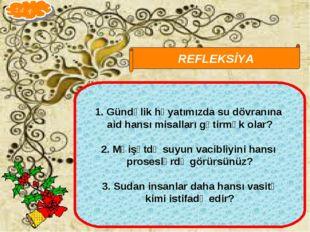 Qarayeva Amaliya REFLEKSİYA Gündəlik həyatımızda su dövranına aid hansı misal