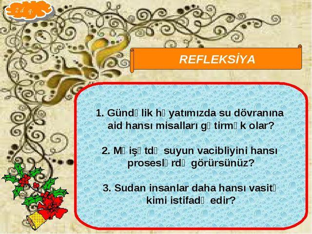 Qarayeva Amaliya REFLEKSİYA Gündəlik həyatımızda su dövranına aid hansı misal...