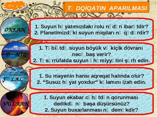 Qarayeva Amaliya TƏDQİQATIN APARILMASI 1. Suyun həyatımızdakı rolu nədən ibar...