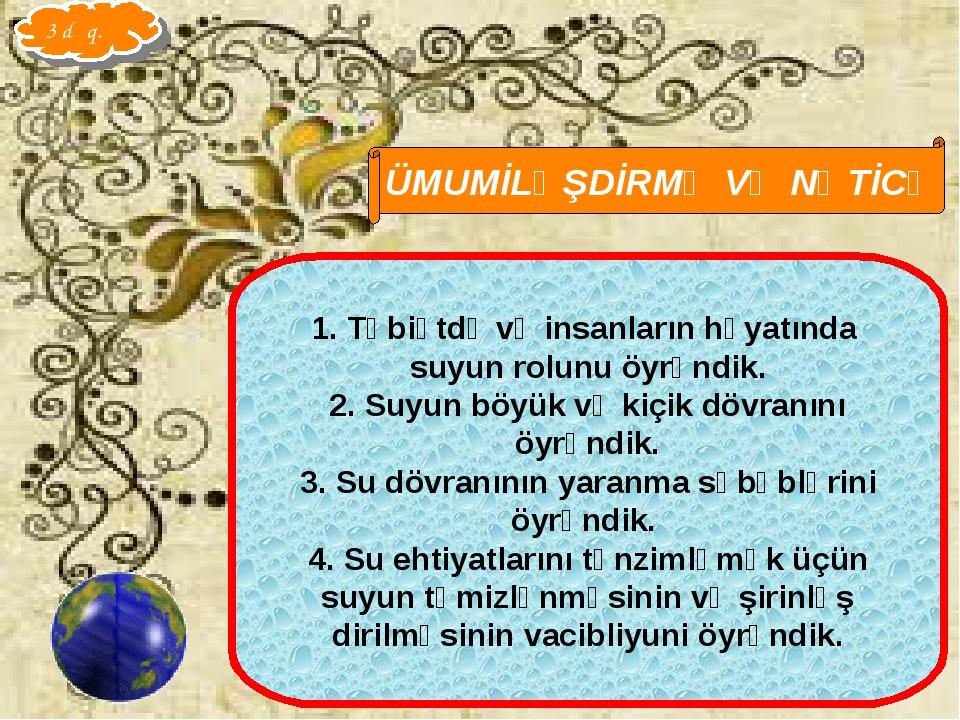 Qarayeva Amaliya ÜMUMİLƏŞDİRMƏ VƏ NƏTİCƏ Təbiətdə və insanların həyatında suy...