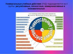 Универсальные учебные действия (УУД) подразделяются на 4 группы: регулятивные