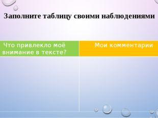 Заполните таблицу своими наблюдениями Что привлекло моё внимание в тексте? Мо