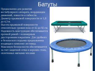Батуты Предназначен для развития вестибулярного аппарата, координации движени